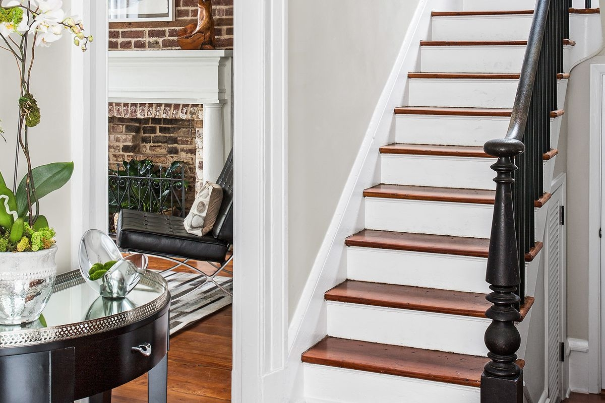 How To Remove Carpet From Stairs This Old House   Carpet Down Middle Of Stairs   Hardwood   Benjamin Moore   Carpet Runner   Landing   Stair Tread