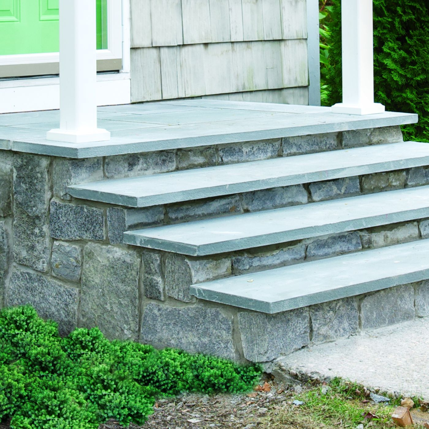 How To Clad Concrete Steps In Stone This Old House   Outdoor Railings For Stone Steps   Screen Porch   Modern Outdoor   Backyard   Stone Patio   Fancy