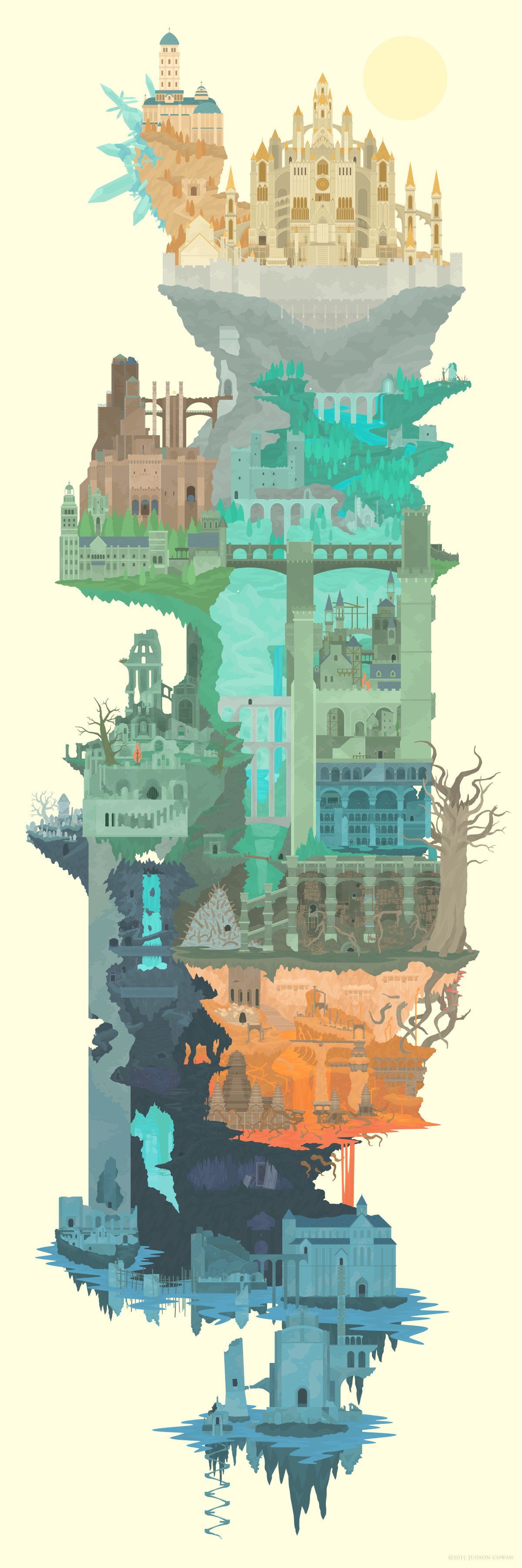 Gaze upon the realm of Dark Souls  in one single image   Polygon lordran full map illustration large