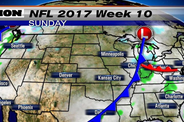 HD Decor Images » NFL weather forecast 2017  Week 10  Few games feature rain and     Week 10 NFL Weather map Sunday afternoon 11 12 17