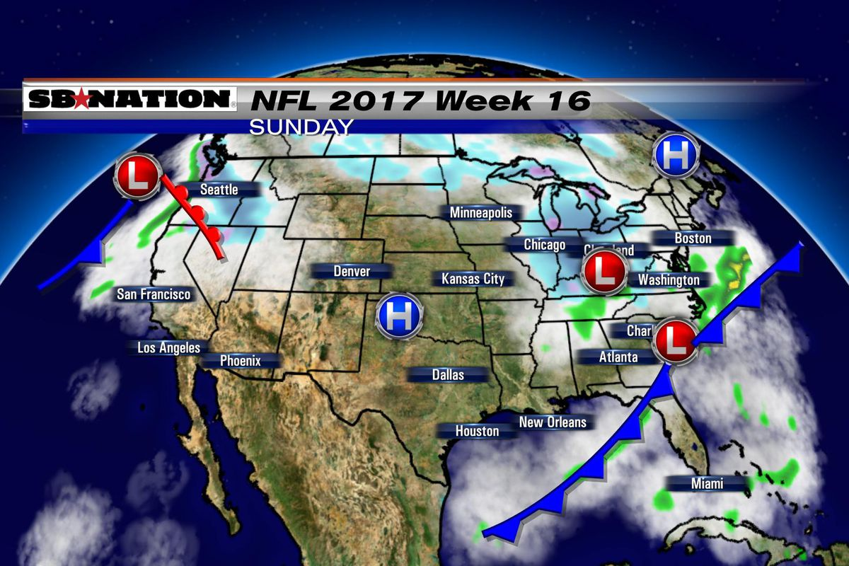 NFL weather forecast 2017  Week 16    SBNation com National weather map for week 16 across the NFL Sunday Dec  24th