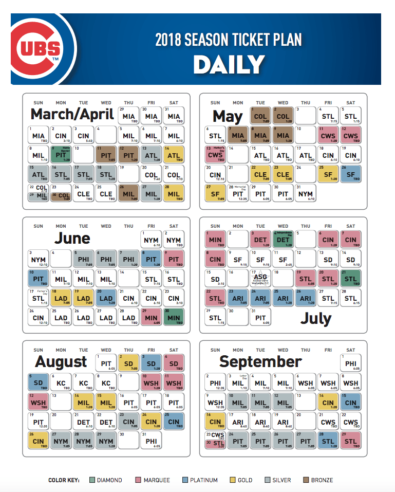 Cubs Chicago 2019 Printable Schedule