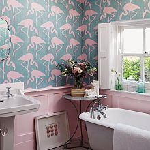 Bathroom wallpapers   Wallpaper Direct As bathrooms are usually one of the smallest rooms  they are the perfect  place to try something bold and express yourself  One wall of something  wild