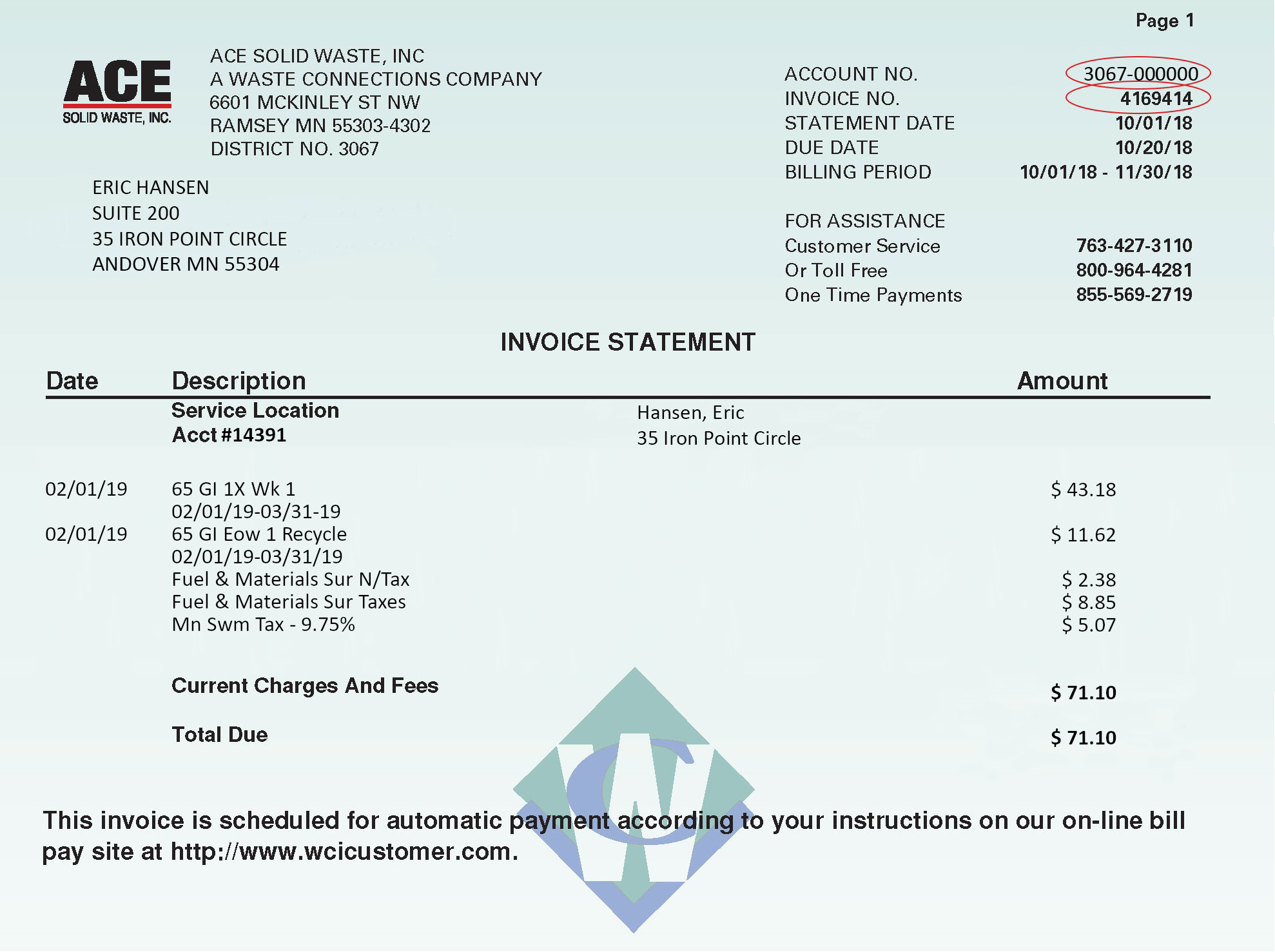 Online Bill Pay Ace Solid Waste