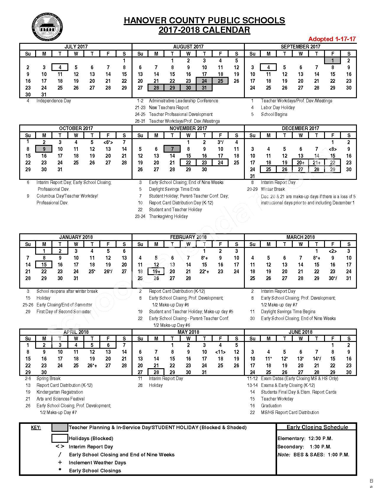 Hcps 2017 2018 Calendar