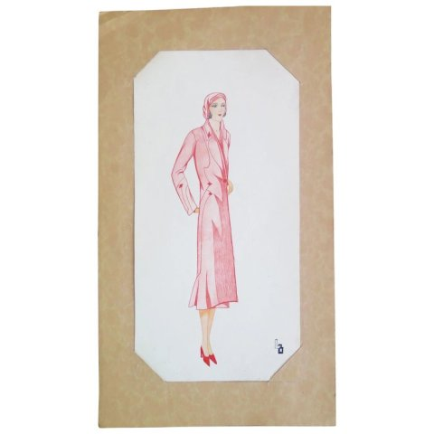 Art Deco Fashion Croquis  Ink and Watercolor  Monogram LB  1930s     Art Deco Fashion Croquis  Ink and Watercolor  Monogram LB  1930s