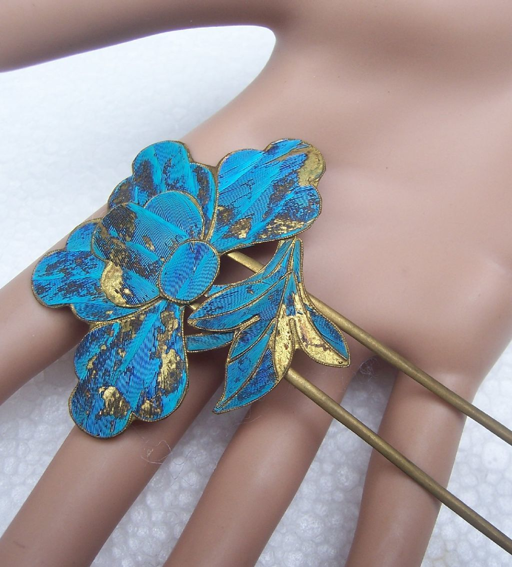 Chinese Kingfisher Feather Hair Pin with Lotus Flower Hair ...