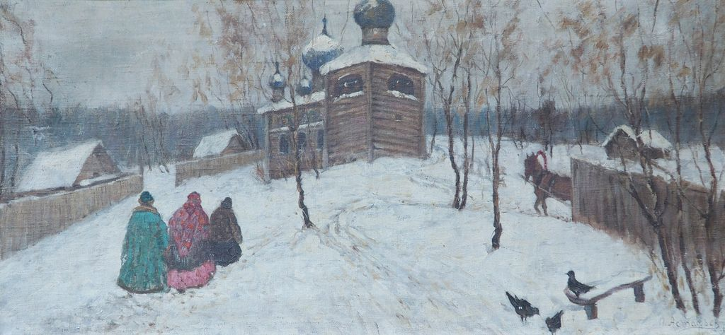 Russian Winter Scene By Church Antique Oil Painting By