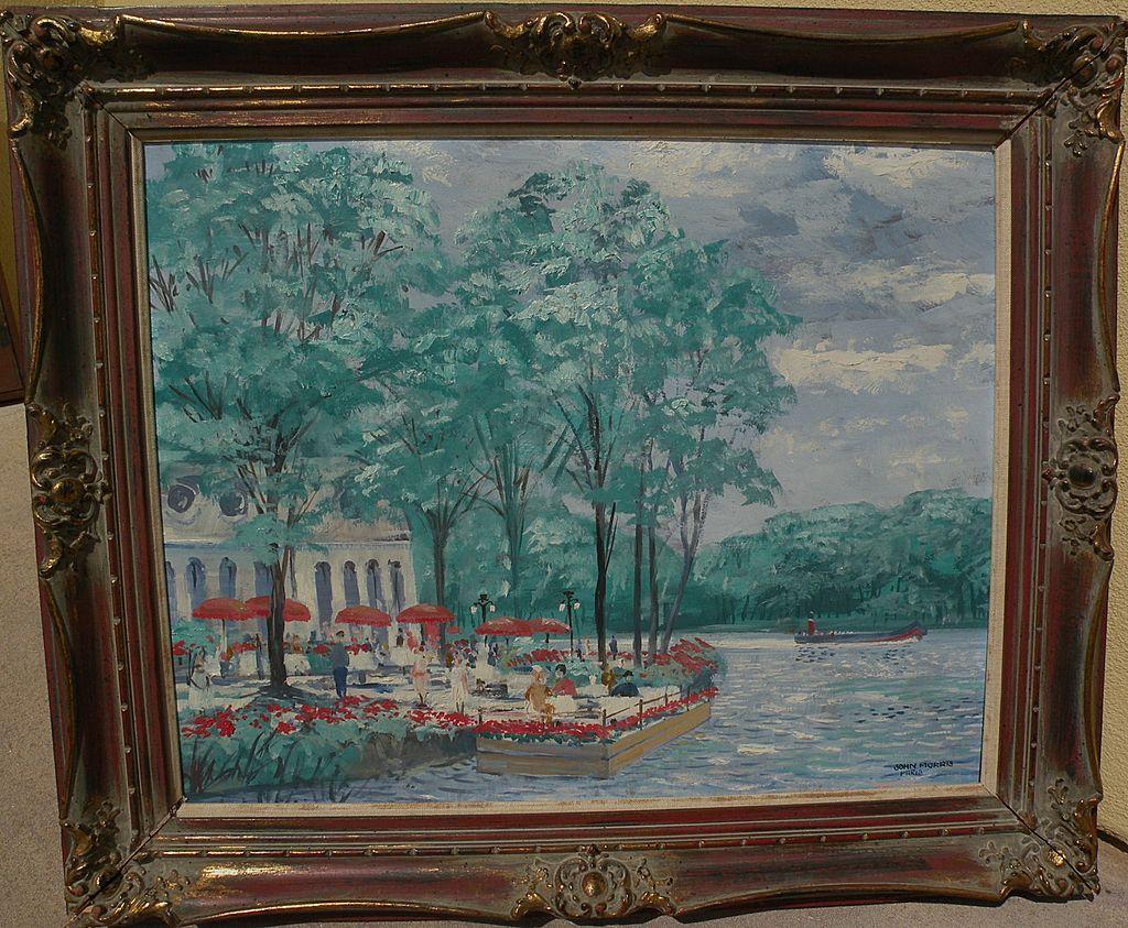 John Morris 1920 1991 Original Painting Of A Restaurant