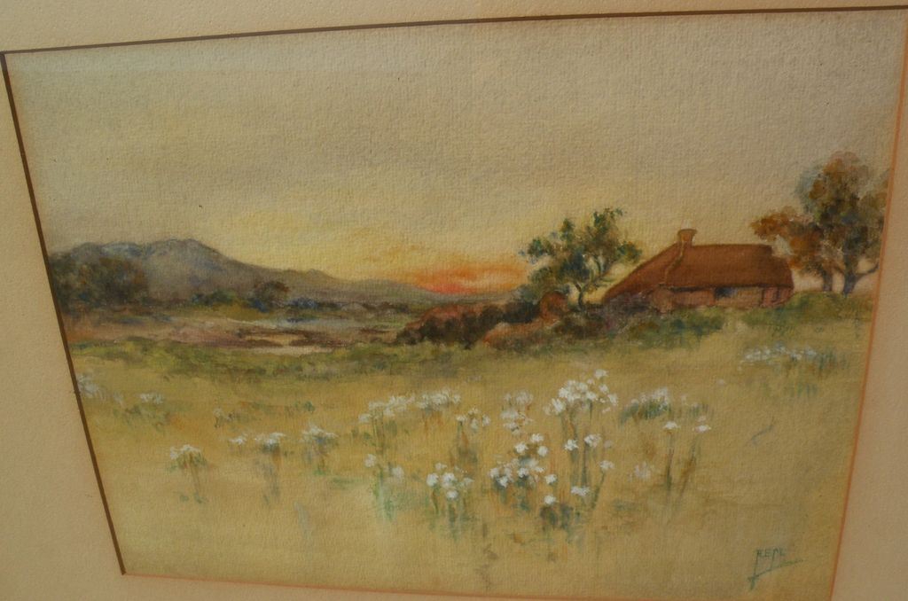 English Art Circa 1900 Antique Watercolor Signed Landscape