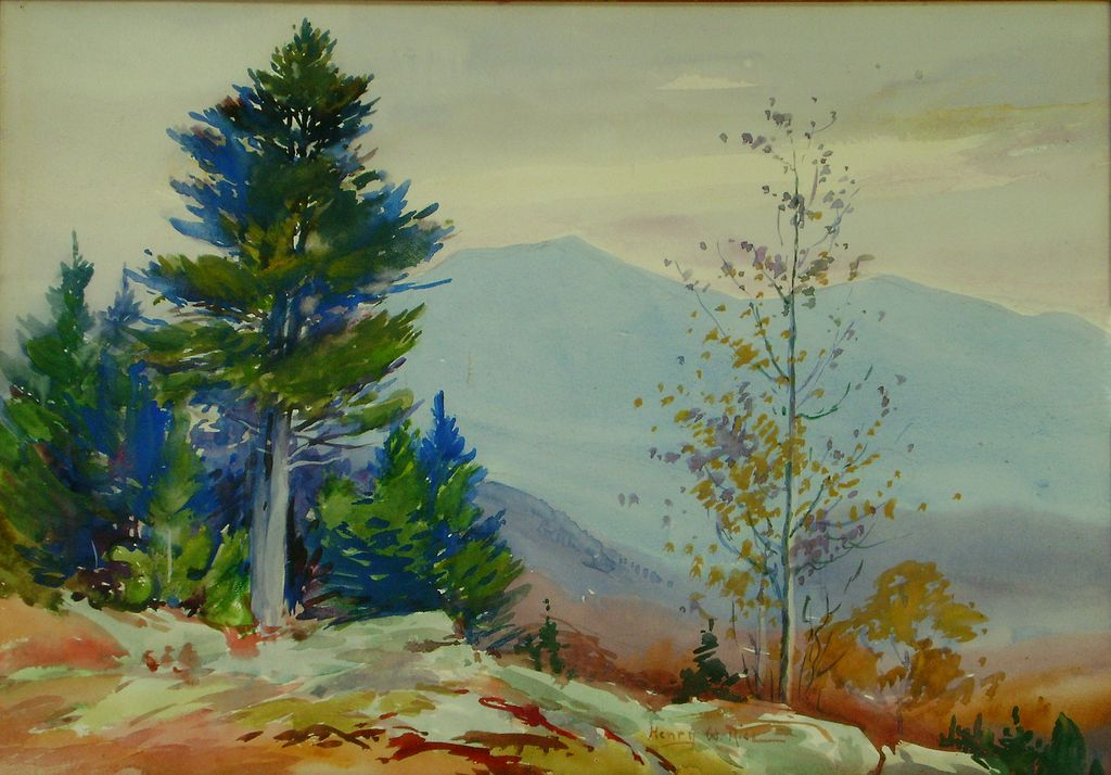 Henry Webster Rice Watercolor Painting of Mountainous ...