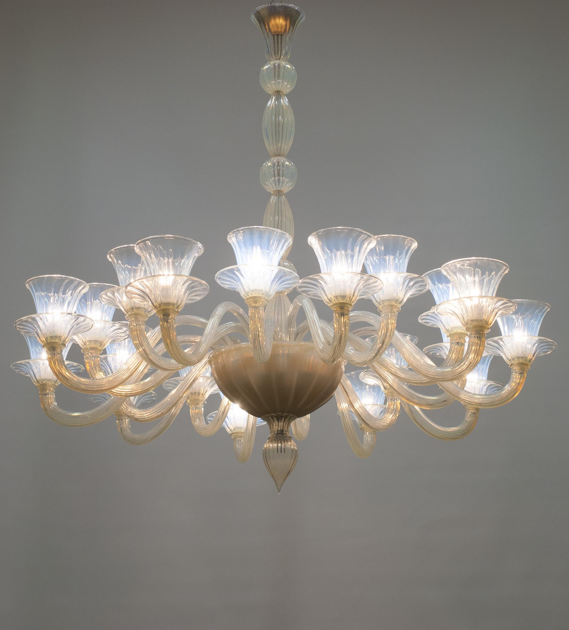 Italian Opaline Chandelier In The Style Of Formia Circa