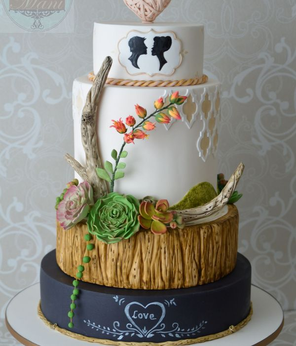 Top Succulent Wedding Cakes   CakeCentral com Wedding Cake Inspired By Driftwood chalkboard   Succulents