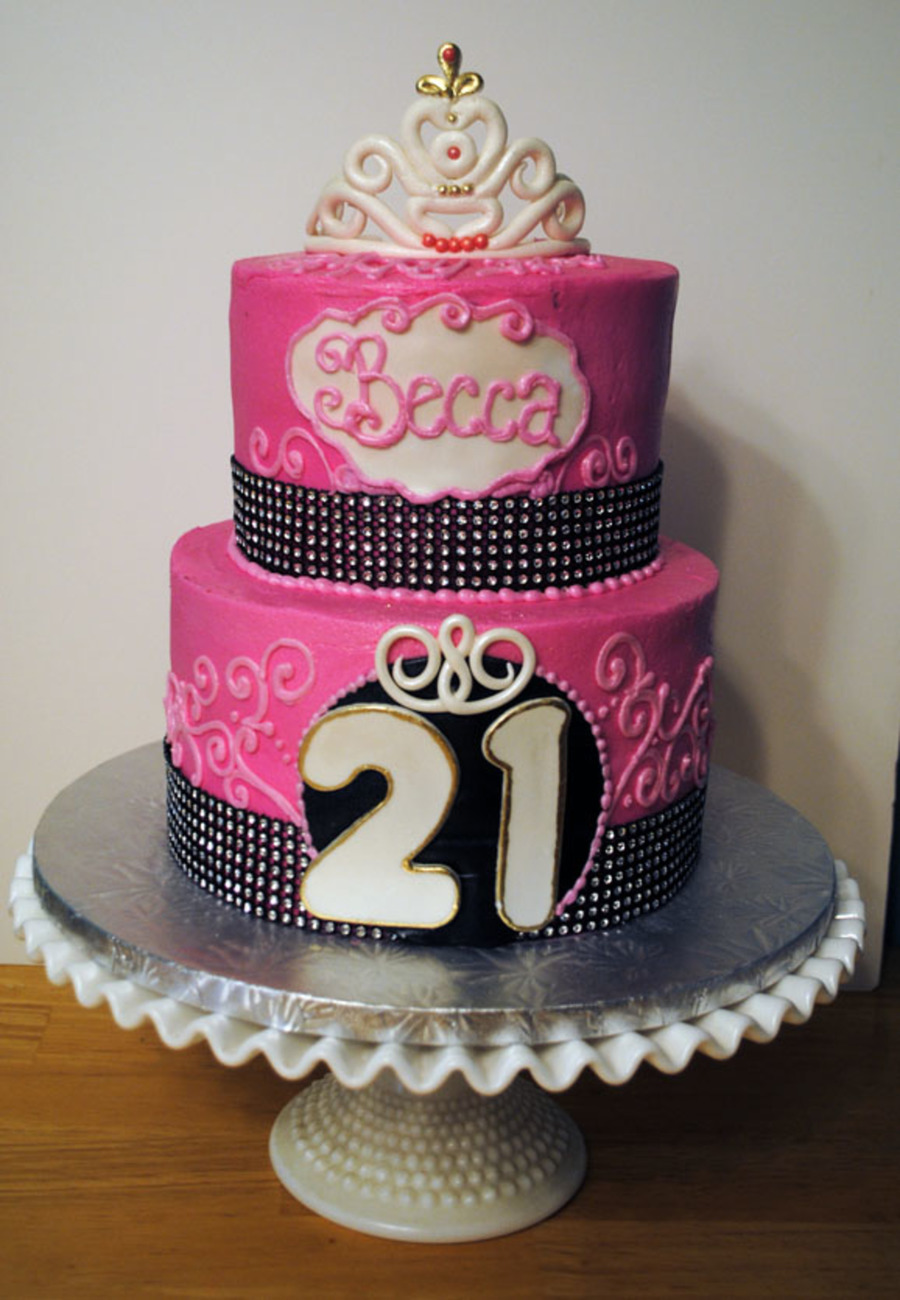21st Birthday Cake 8 With 6 On Top Frosted In Buttercream