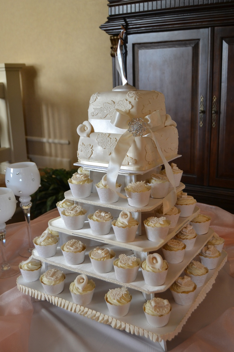 Ivory Amp Lace Square Wedding Cupcake Tower Cakecentral Com