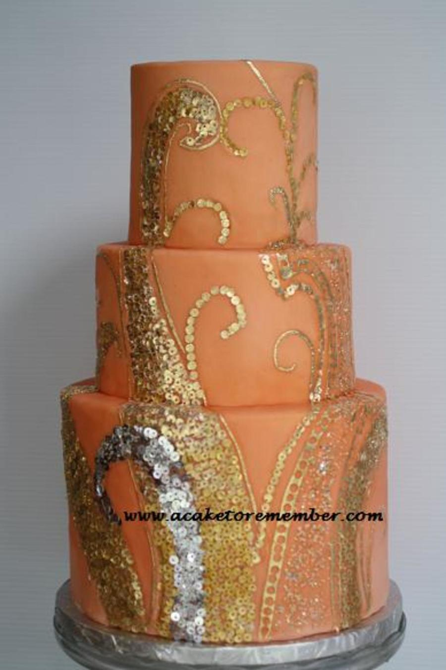 Gold Leaf Sequins Wedding Cake Cakecentral Com