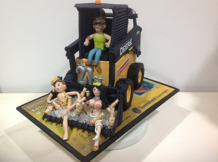 21st Birthday Cake For Man With Him Sitting In Bucket With