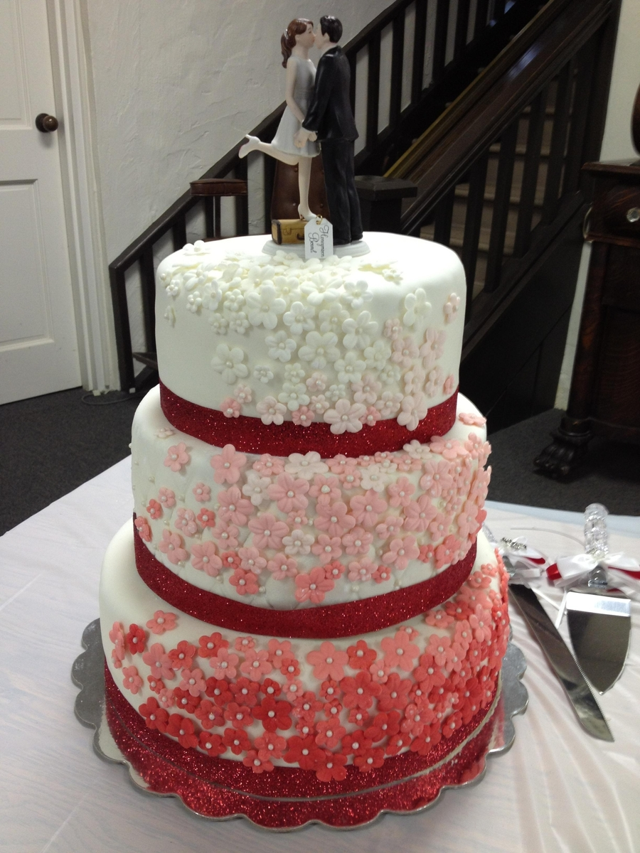 White To Red Wedding Cake   CakeCentral com White To Red Wedding Cake on Cake Central