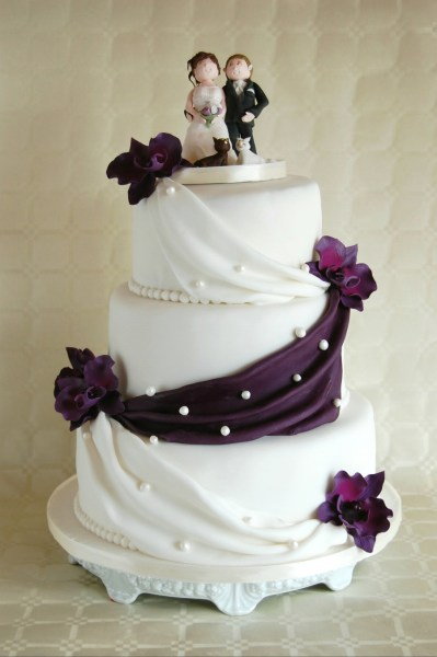 Simple Elegant Wedding Cake Lilac Orchids   CakeCentral com Simple Elegant Wedding Cake Lilac Orchids on Cake Central
