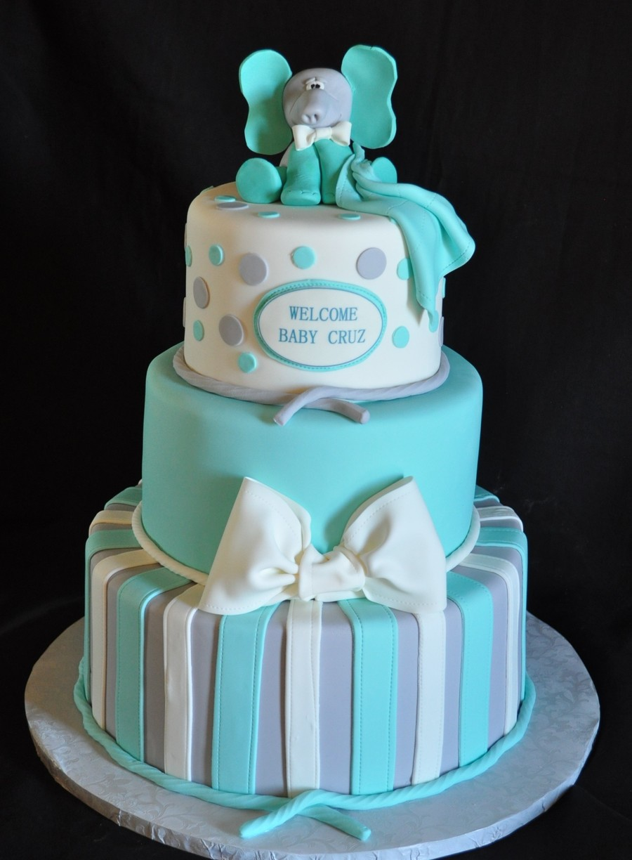Teal And Gray Baby Shower Cake Cakecentral Com