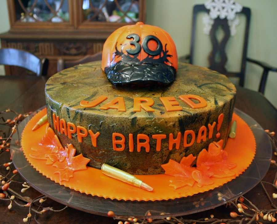 Camo Cake With Blaze Orange Hunting Hat And 30 06 Bullets