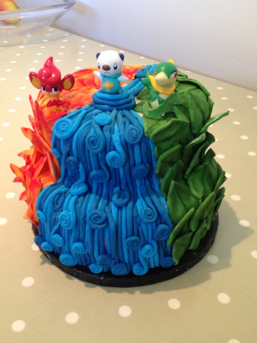 Pokemon Cake Fire Water And Leaves Two Tier Cake