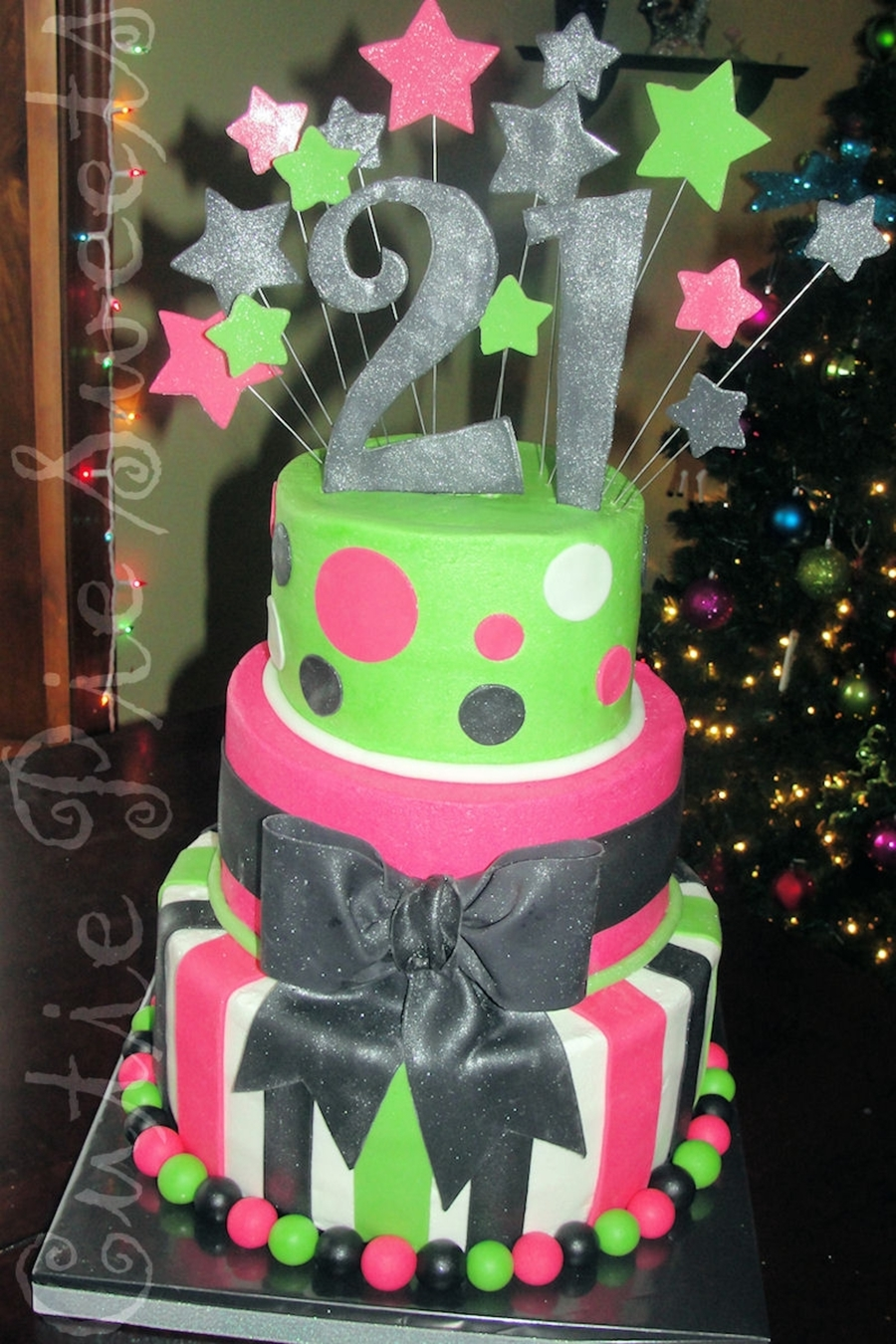 Lime Green Amp Hot Pink 21st Birthday Cake Cakecentral Com