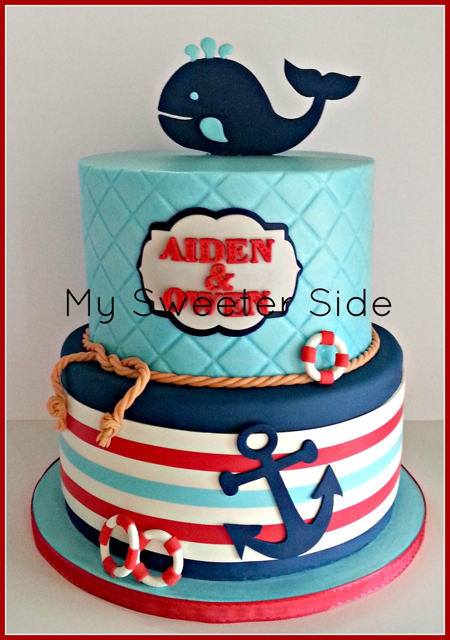 Happy First Birthday Aiden And Owen Top Tier Is Covered In