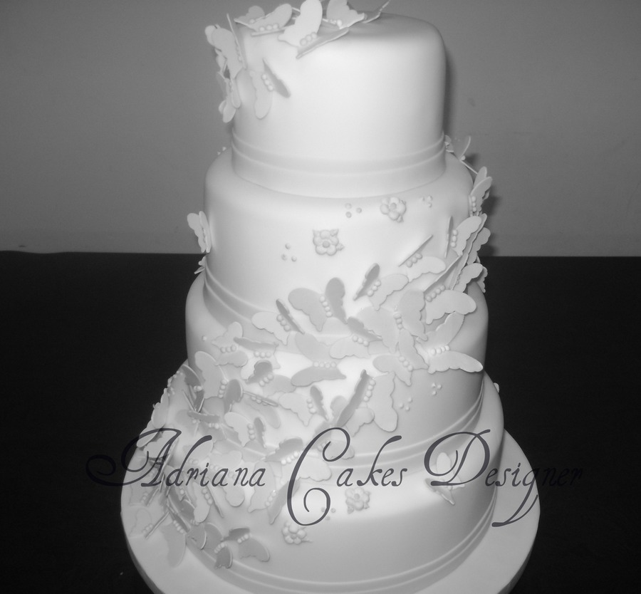 White Butterfly Wedding Cake   CakeCentral com White Butterfly Wedding Cake on Cake Central