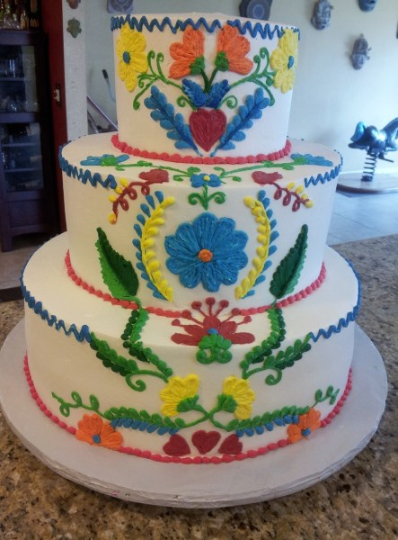 Vintage Embroidered Mexican Wedding Cake   CakeCentral com 7   12   16  round cakes all frosted and decorated in Pastry Pride  The cake  was to look like those vintage embroidered dresses or table cloths from  Mexico