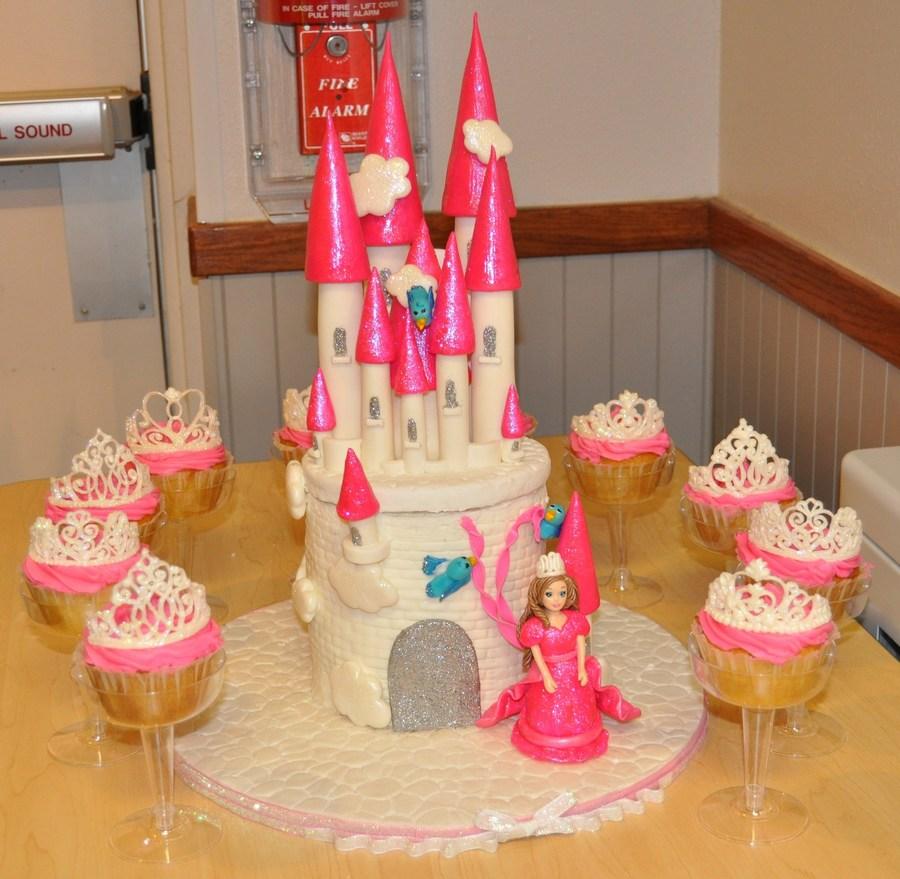Princess Castle Cake And Tiara Topped Cupcakes