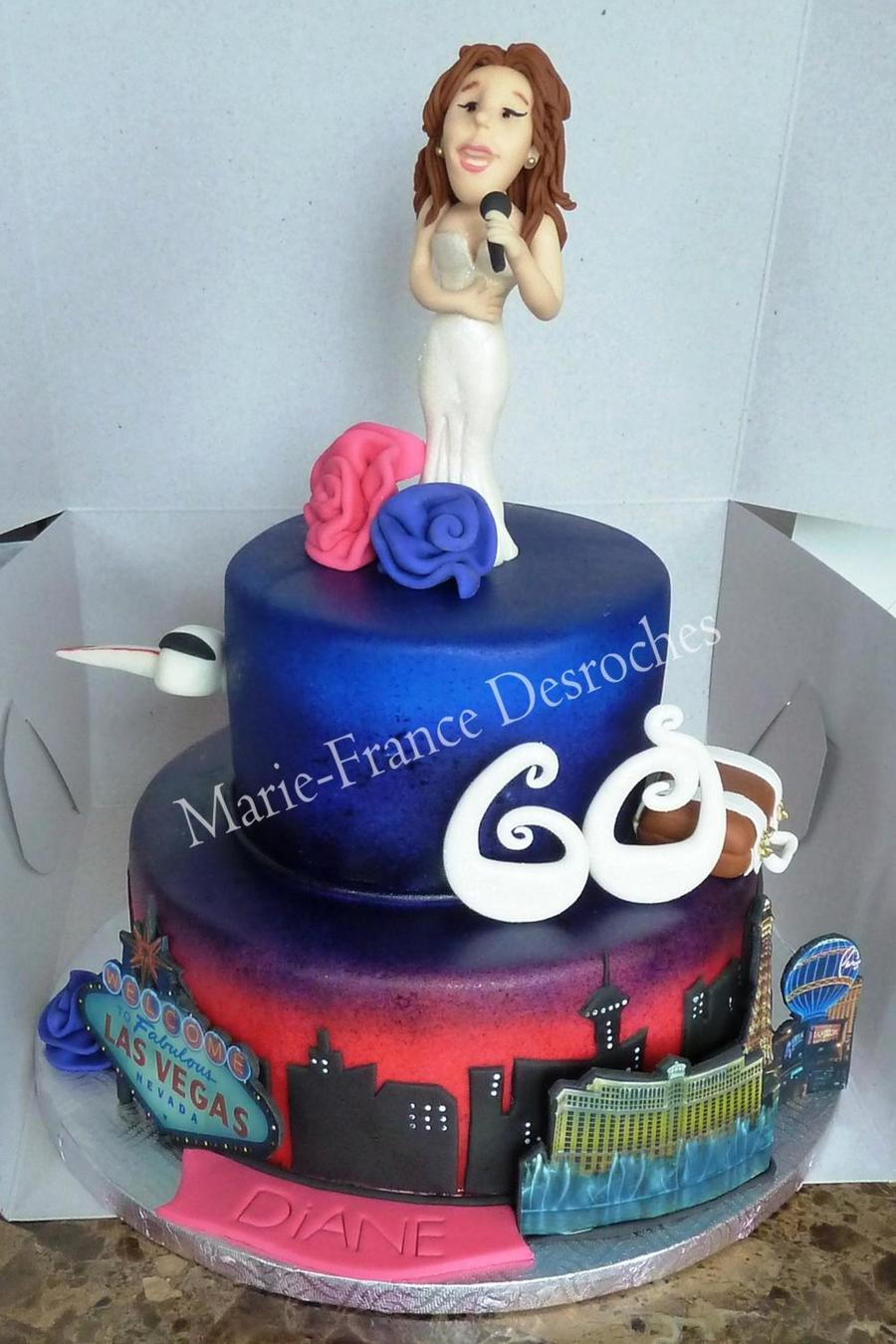 Las Vegas And Celine Dion Themed Birthday Cake First Time