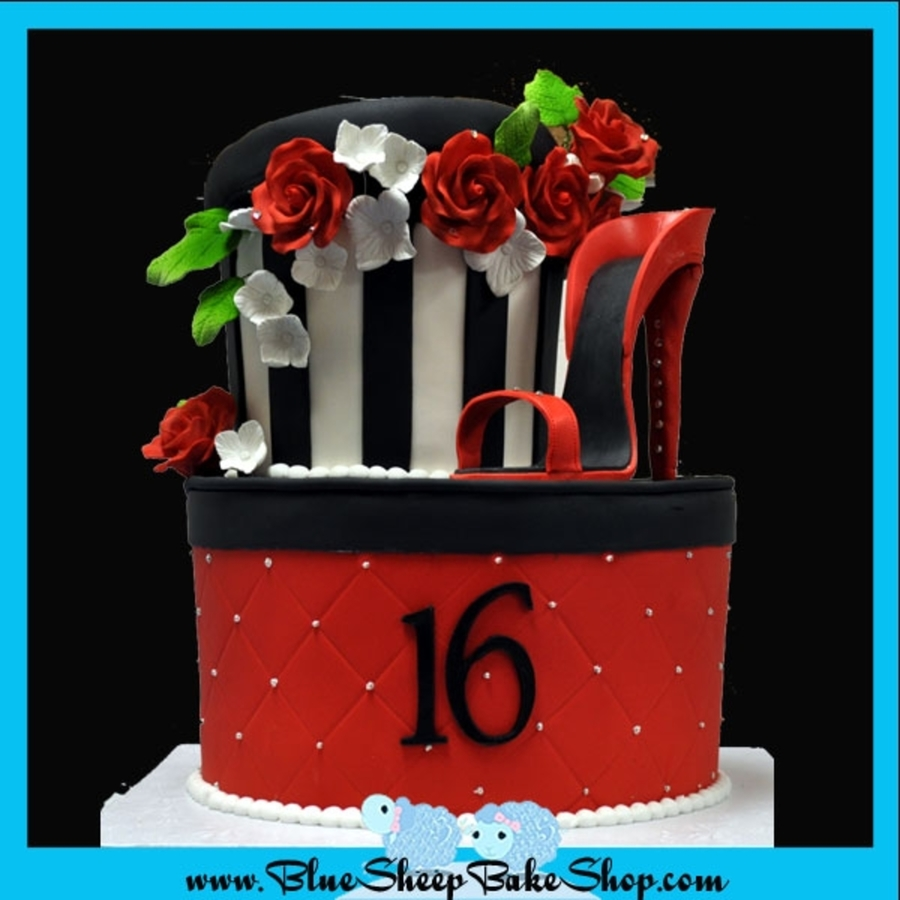 Black White And Red Hat Box Cake Cakecentral Com