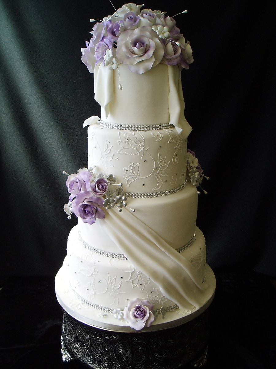 Wedding Cake With Purple Roses Cakecentral Com
