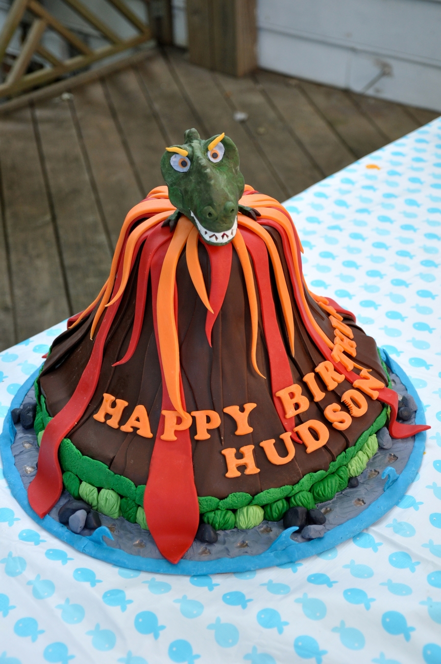 T Rex And Volcano Birthday Cake Cakecentral Com