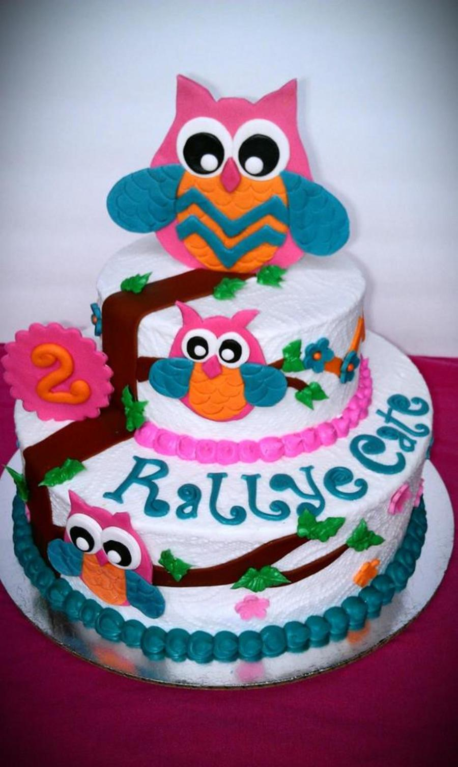 Owl Cake For A 2nd Birthday Butter Cream With Fondant And