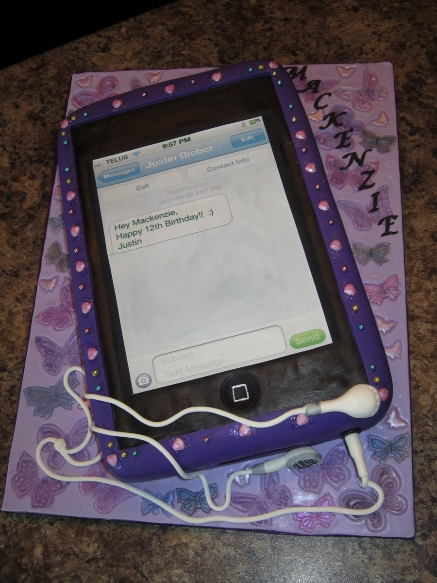 Ipod Touch Cake With Justin Bieber Text Message