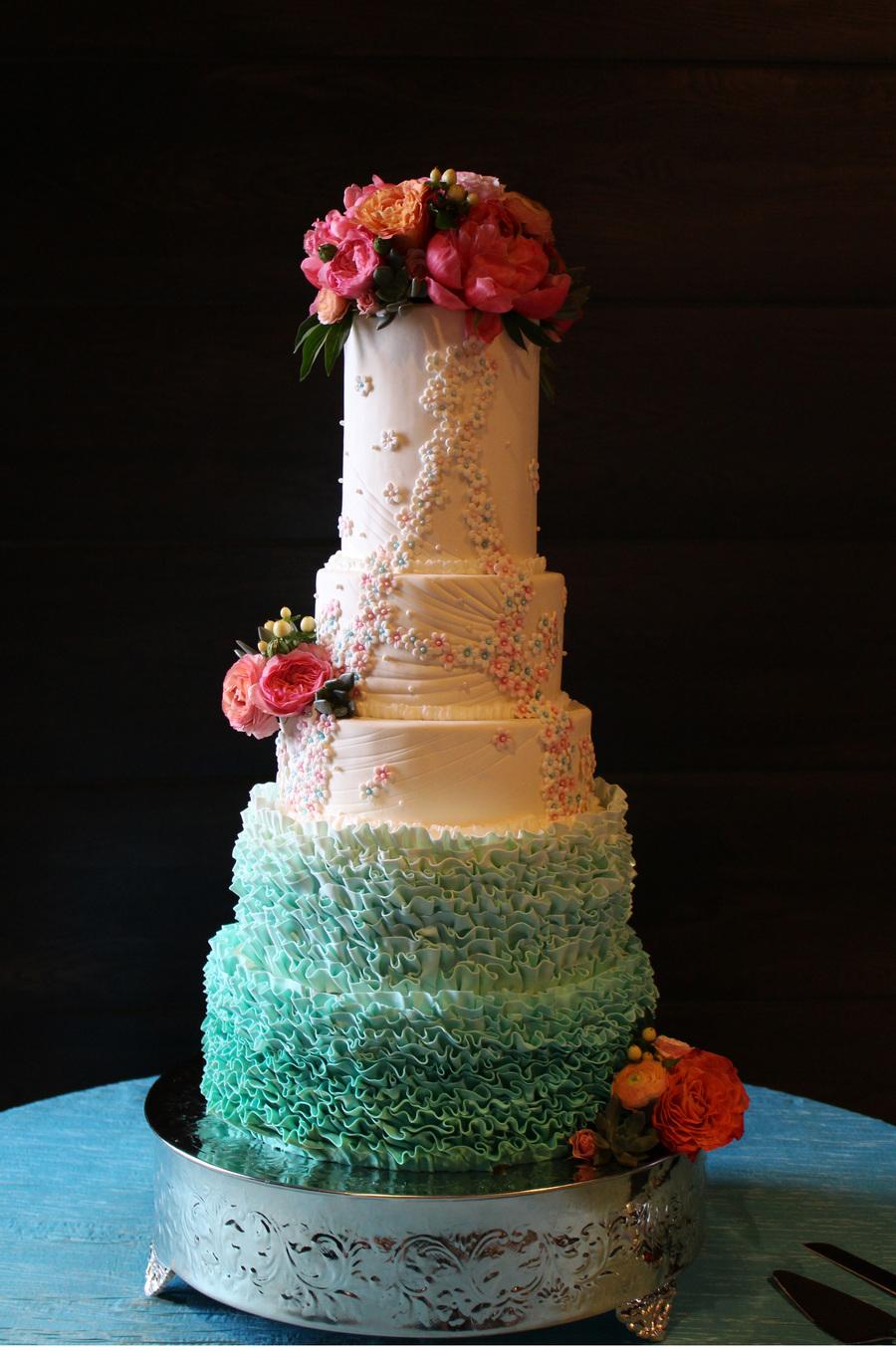 5 Tier Ombre Ruffles And Handmade Sugar Flower Cake For