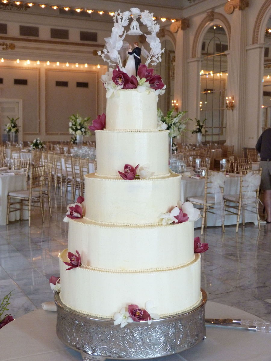 Buttercream And Orchid Wedding Cake Cakecentral Com