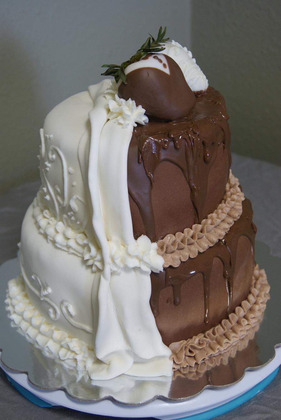 Half Wedding Cake Half Grooms Cake
