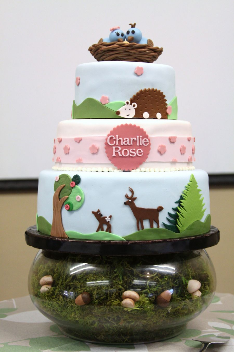 Woodland Animals Baby Shower Cake - CakeCentral.com