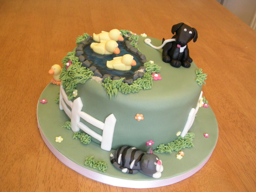 Labrador And Cat Cake With Ducks In Pond Cakecentral Com