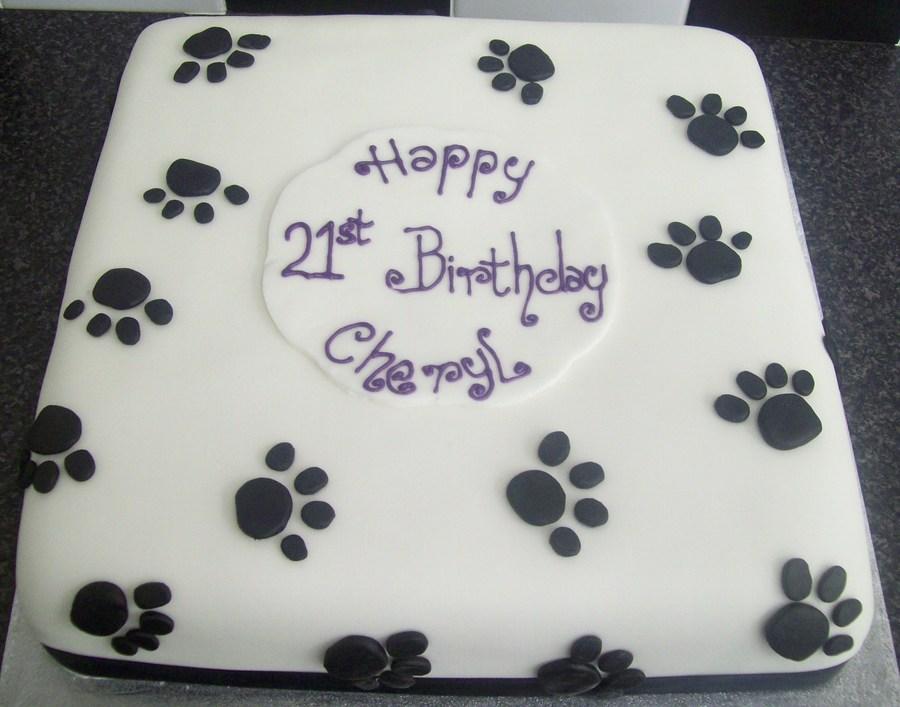 Black Amp White Pawprints 21st Birthday Cake Cakecentral Com
