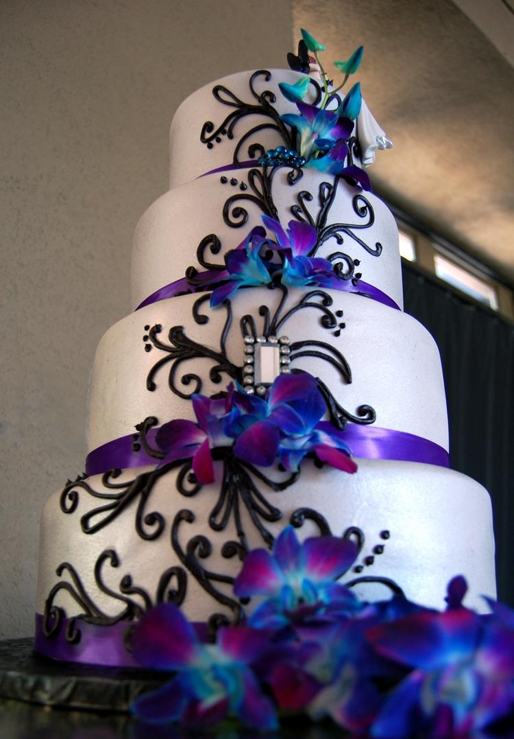 Fondant Wedding Cake With Purple Satin Ribbon Black Piped