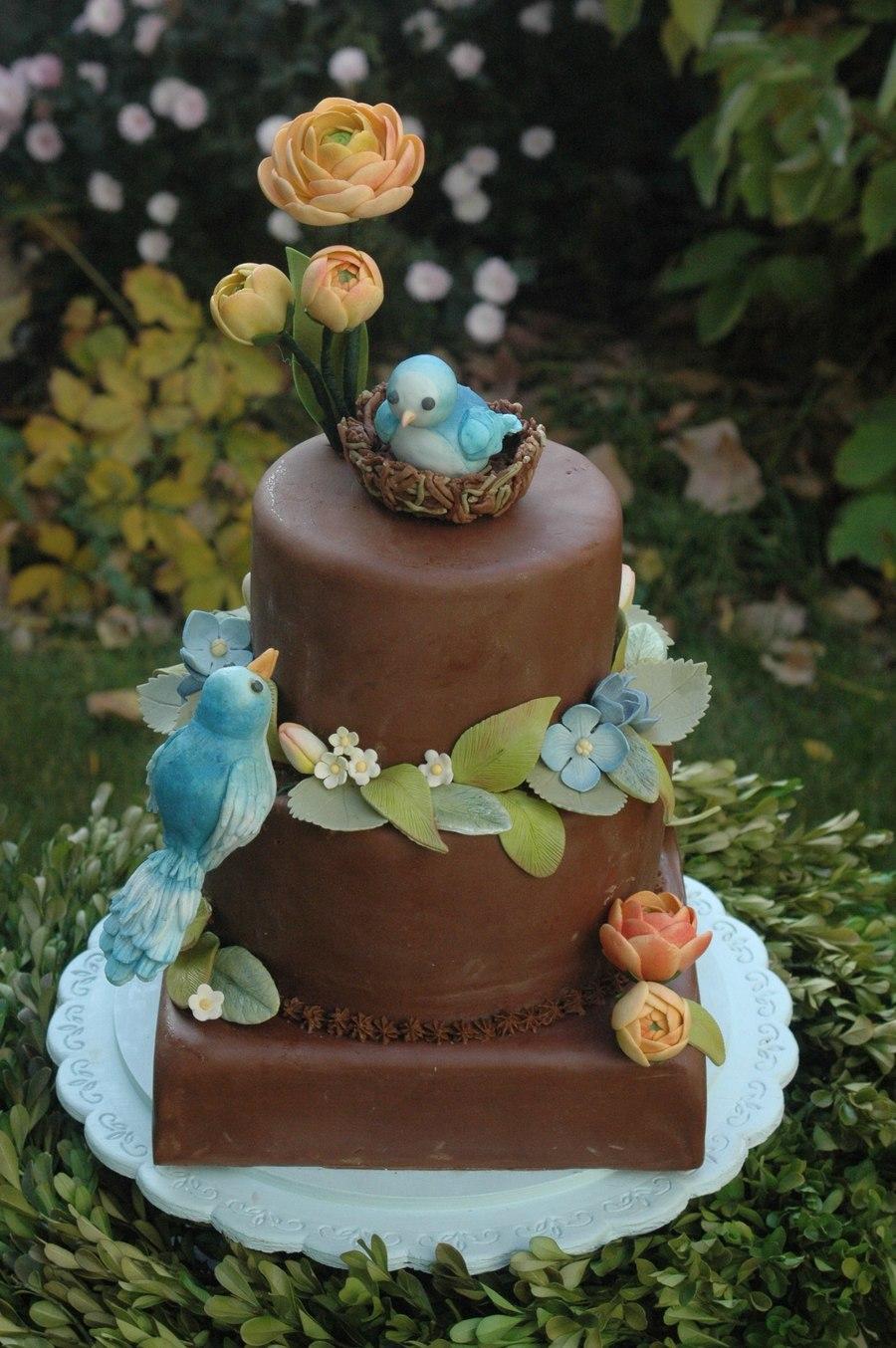 Blue Bird Baby Shower Cake Cakecentral Com
