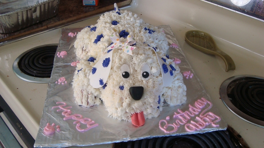 3d White Amp Purple Puppy Dog Cake Cakecentral Com