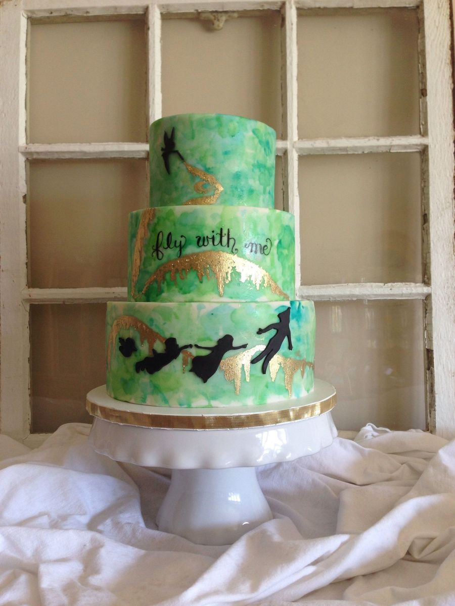 Sweet 16 Watercolor Cake Neverland Theme Gold Pixie Dust