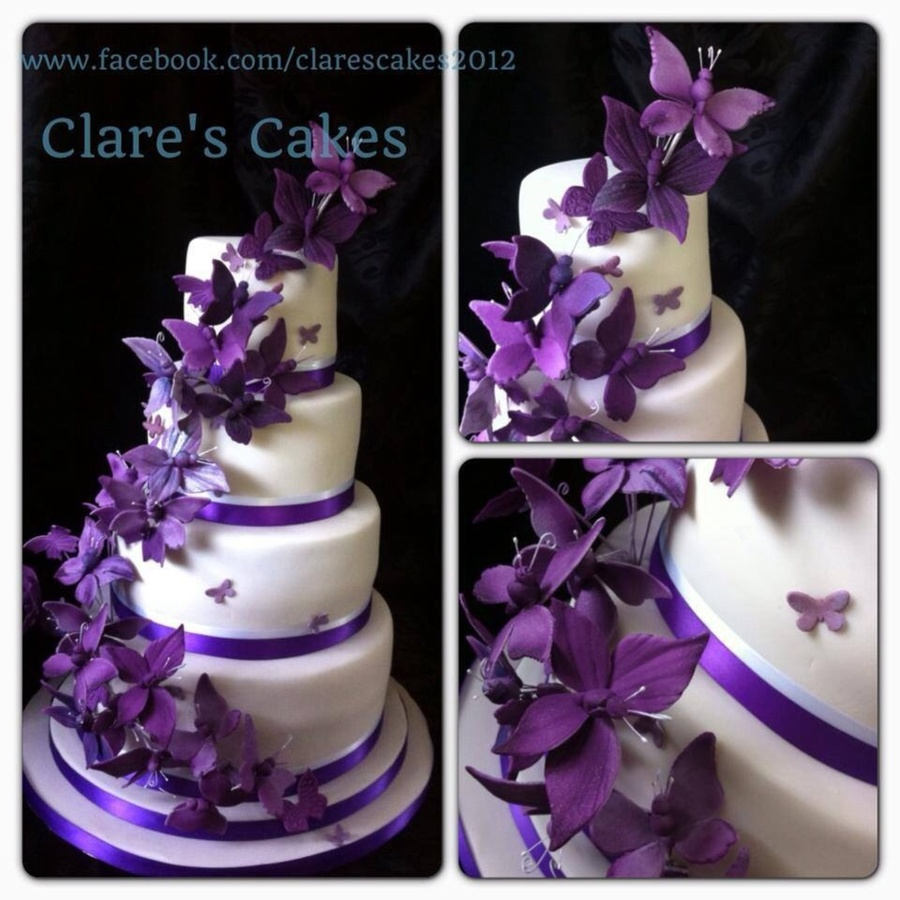 Cadburys Purple Butterfly Wedding Cake   CakeCentral com