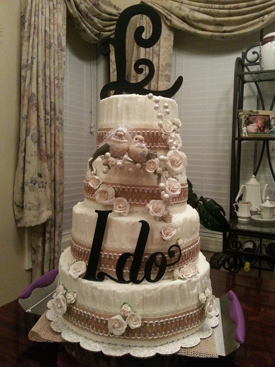 Burlap   Lace Wedding Cake   CakeCentral com Burlap   Lace Wedding Cake on Cake Central