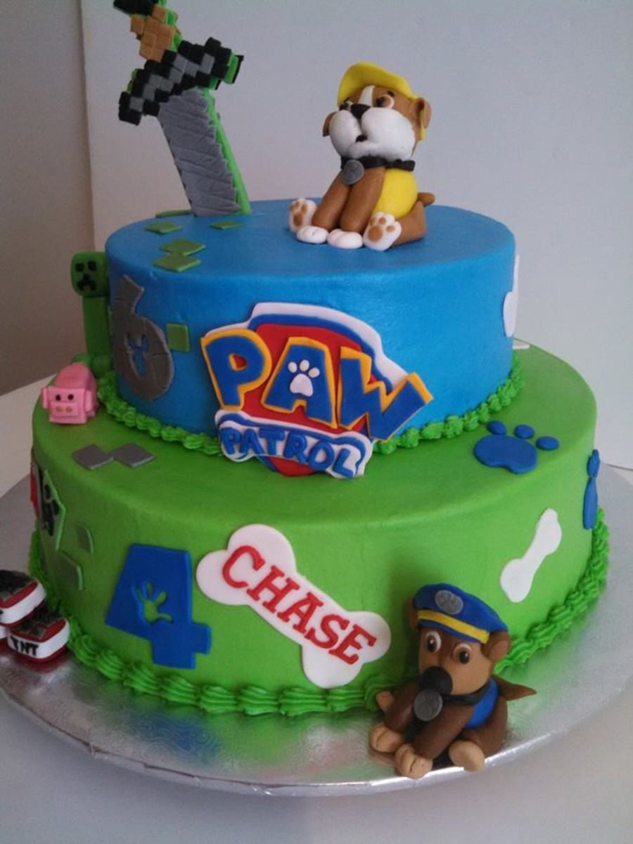 Combination Paw Patrol And Mine Craft Cake Cakecentral Com